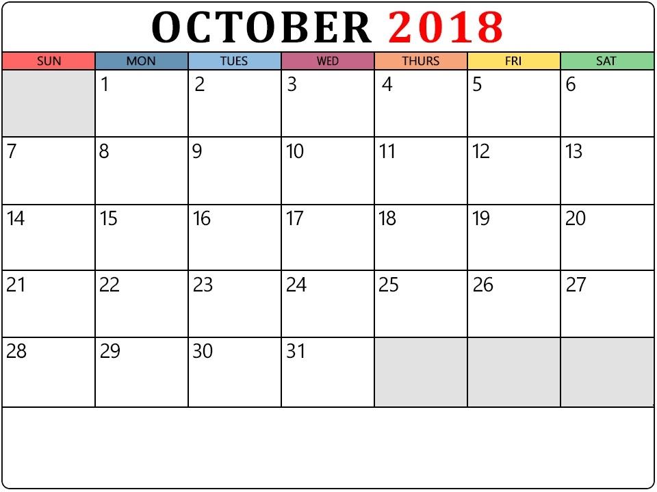 October 2018 Calendar Page PDF