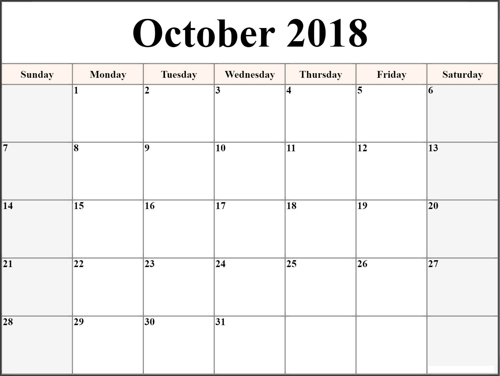 October 2018 Calendar Printable Excel