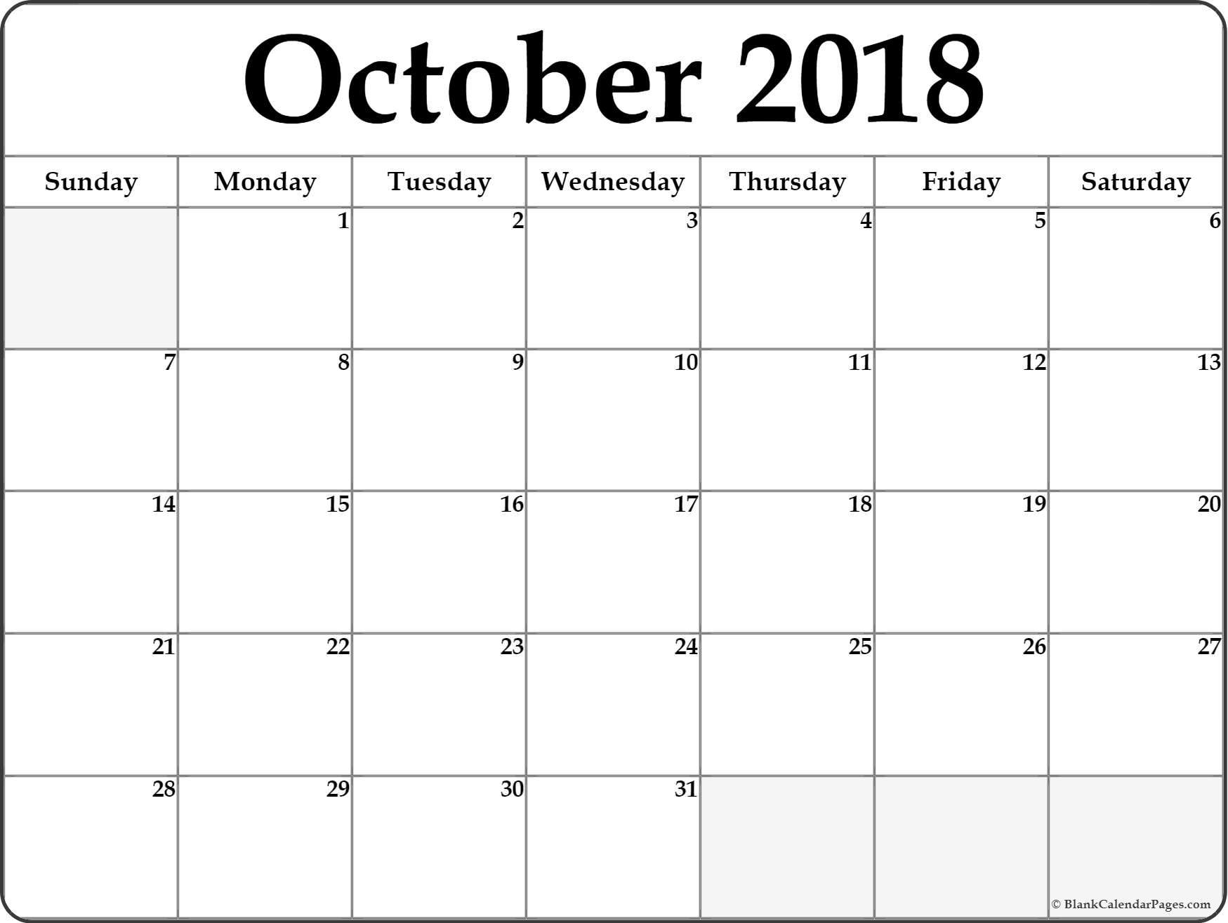 October 2018 Calendar Printable Free