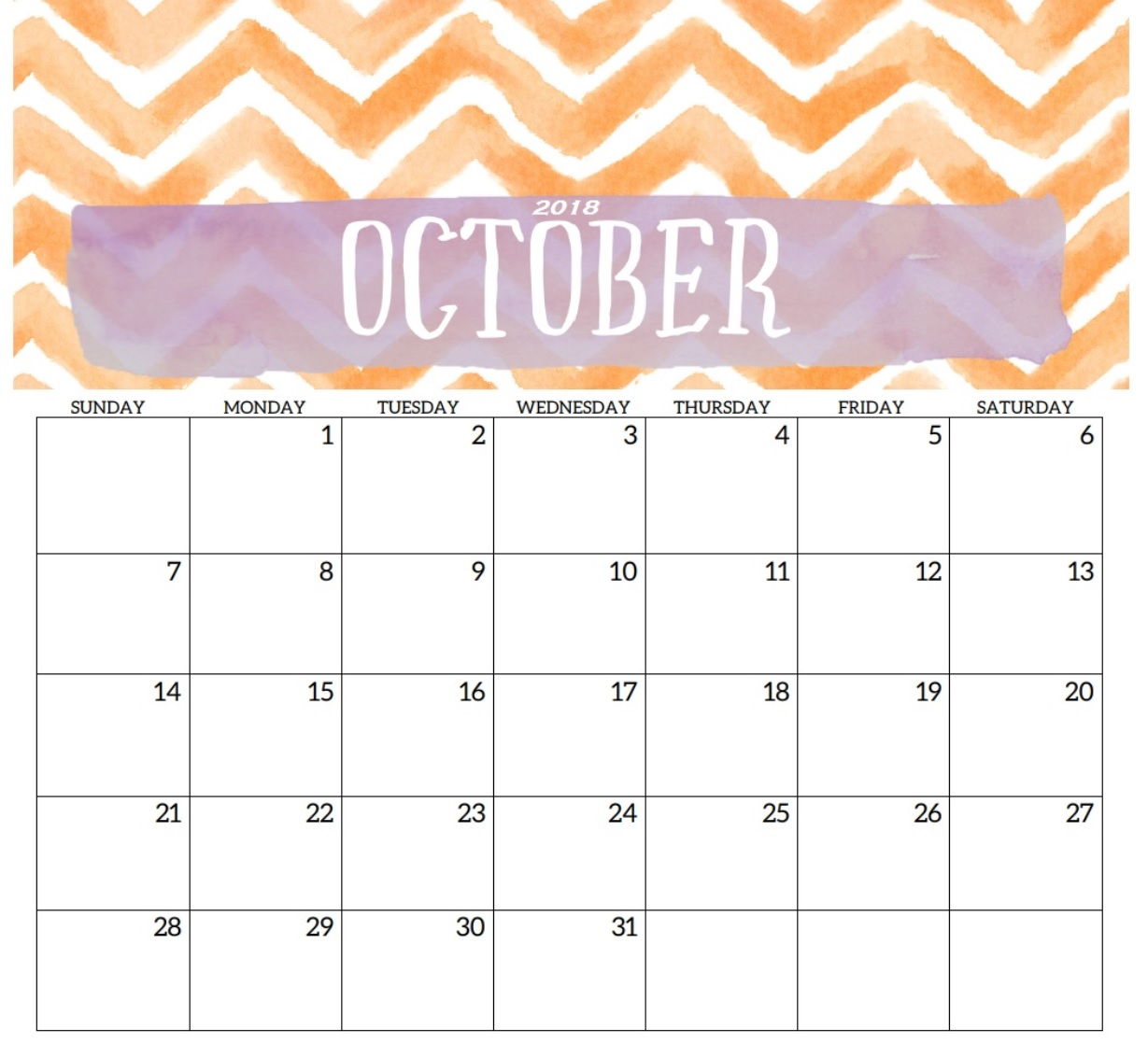 October 2018 Calendar Printable Waterproof