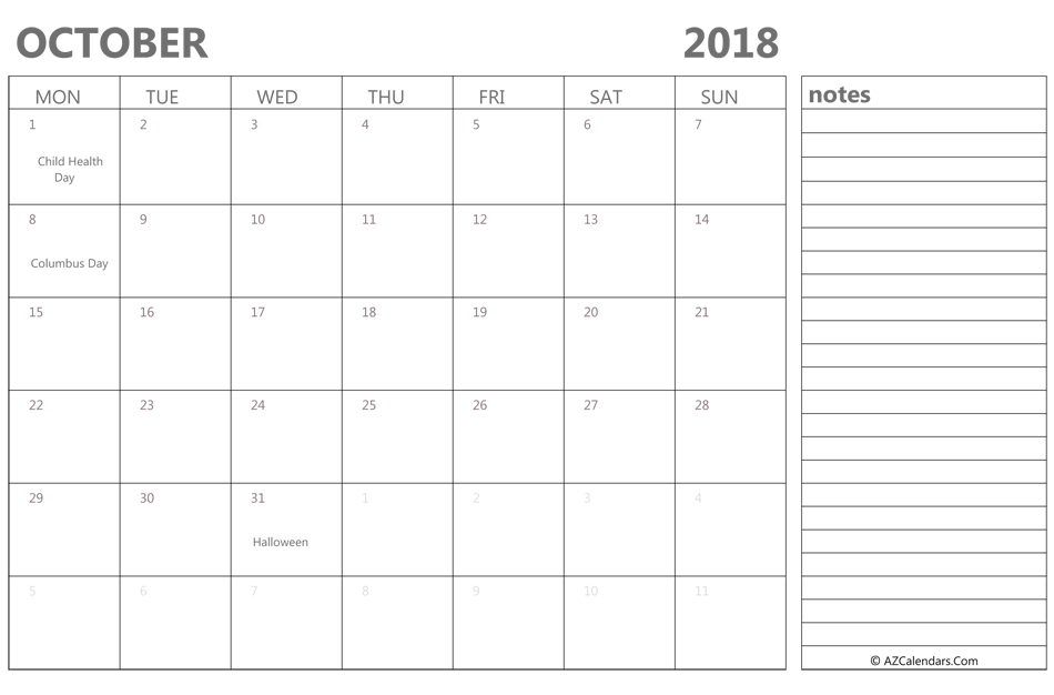 October 2018 Calendar Printable With Holidays and Notes