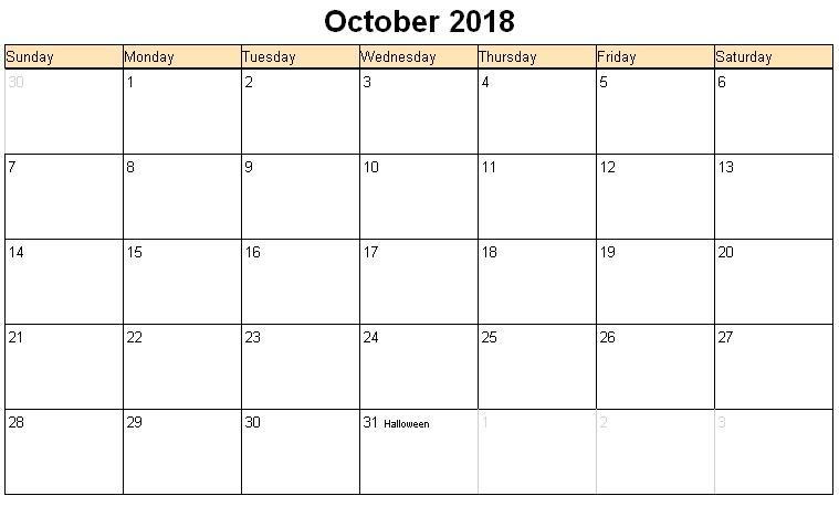 October 2018 Calendar Printable With Holidays