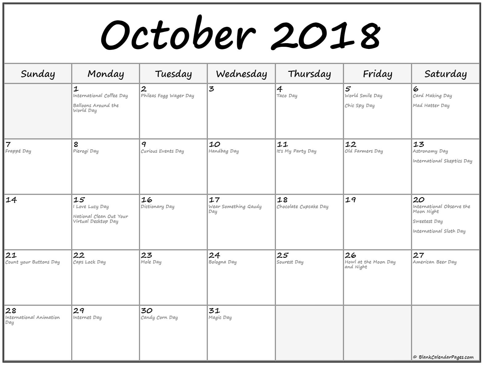 October 2018 Calendar Public Holidays
