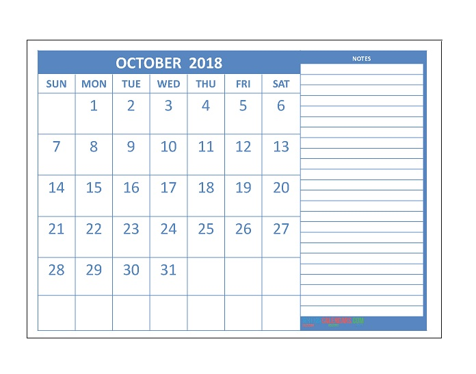 October 2018 Calendar Ready To Print
