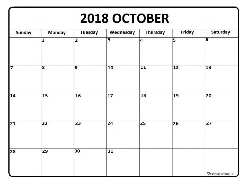 October 2018 Calendar Singapore Printable