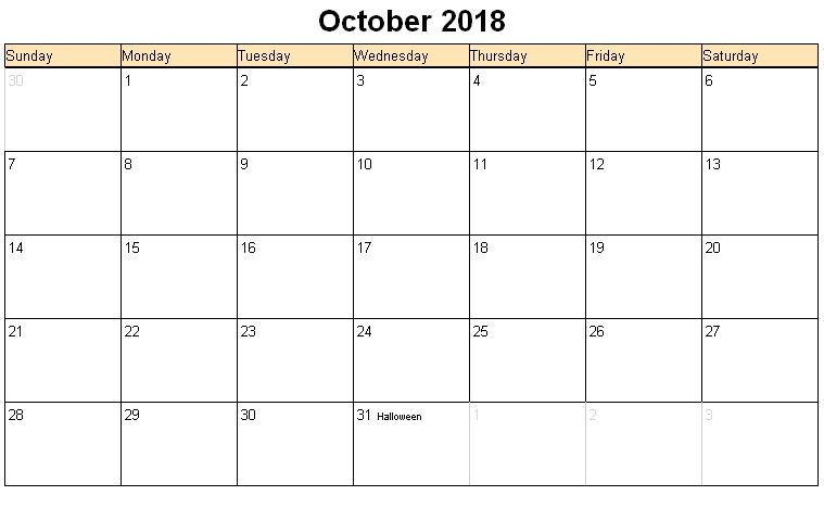 October 2018 Calendar Singapore With Holidays