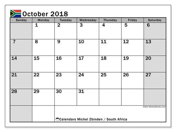 October 2018 Calendar South Africa