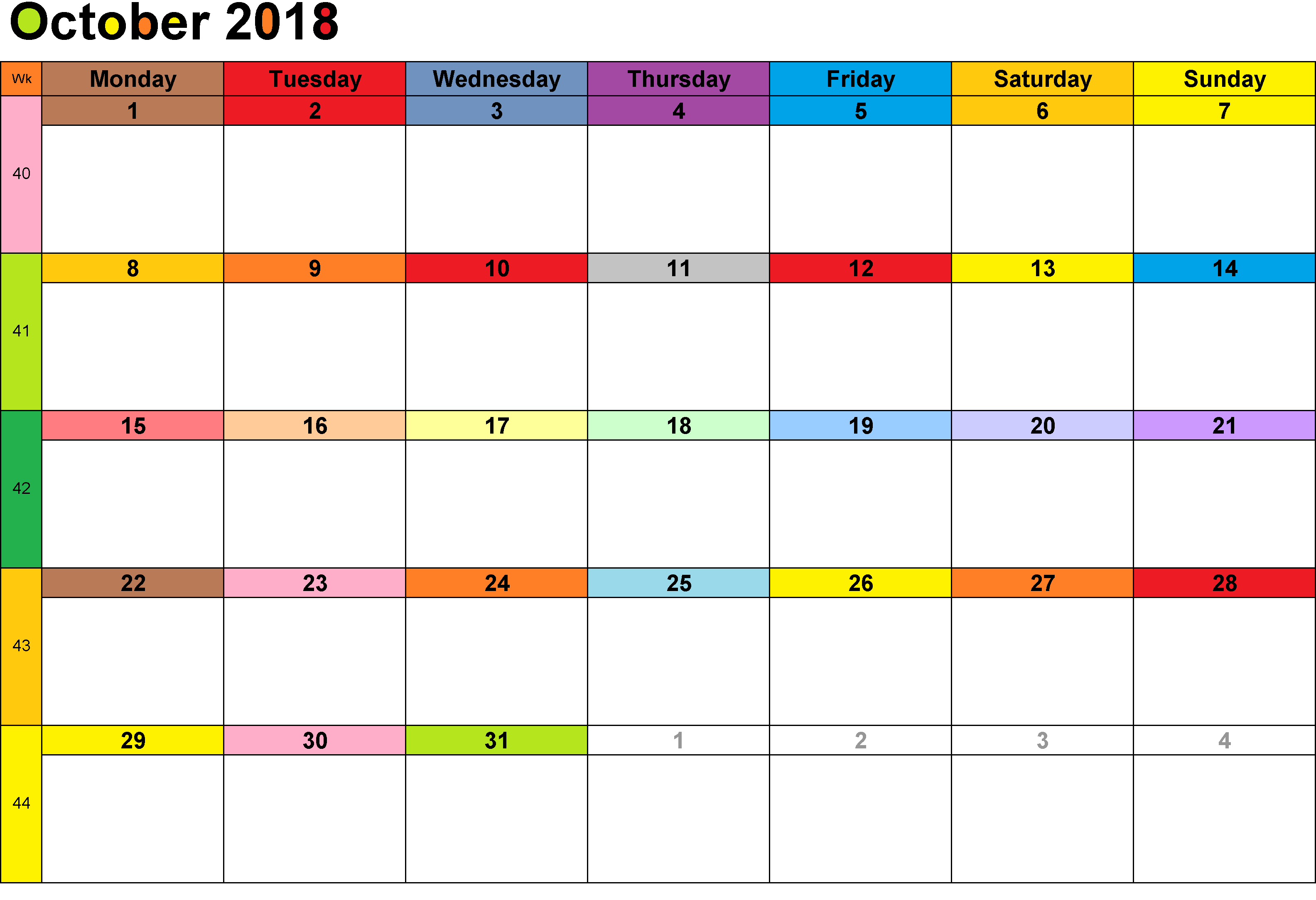 October 2018 Calendar Spanish Holidays
