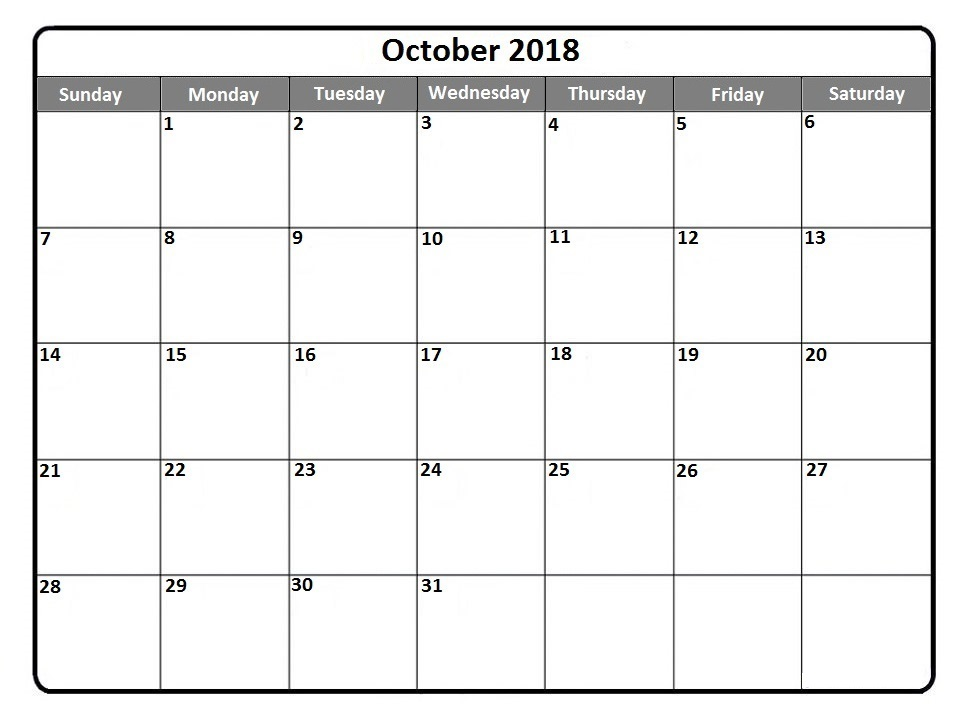 October 2018 Calendar Spanish Template