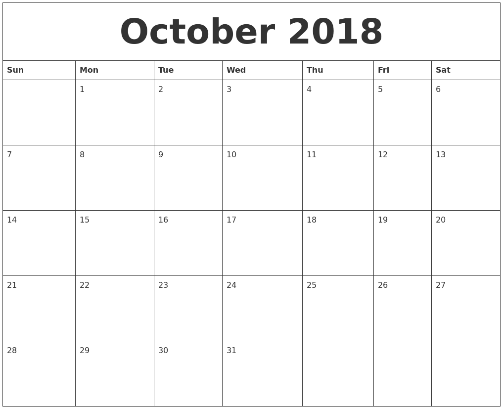 October 2018 Calendar Spanish Word Excel PDF