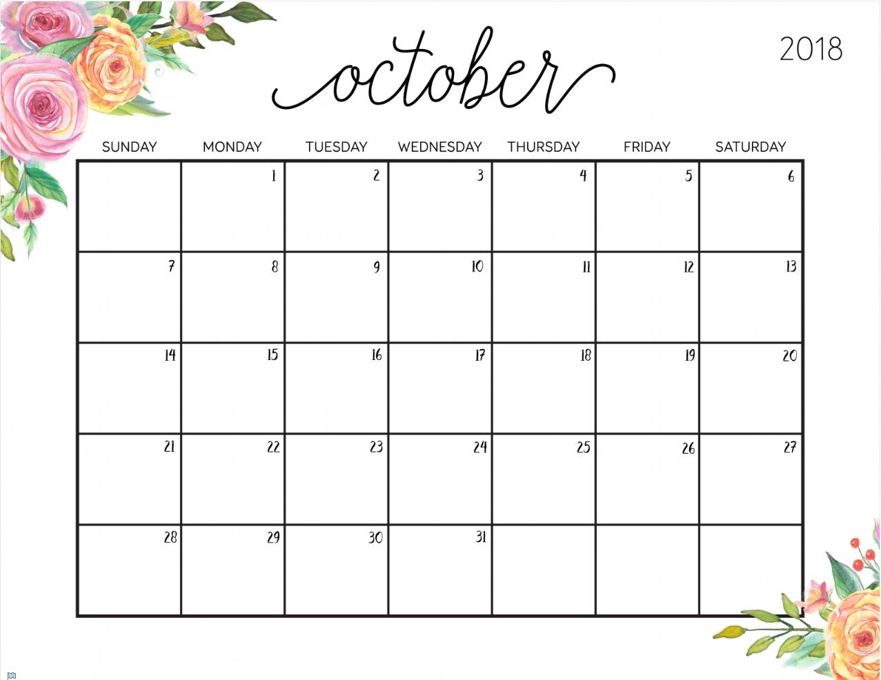 October 2018 Calendar Spanish