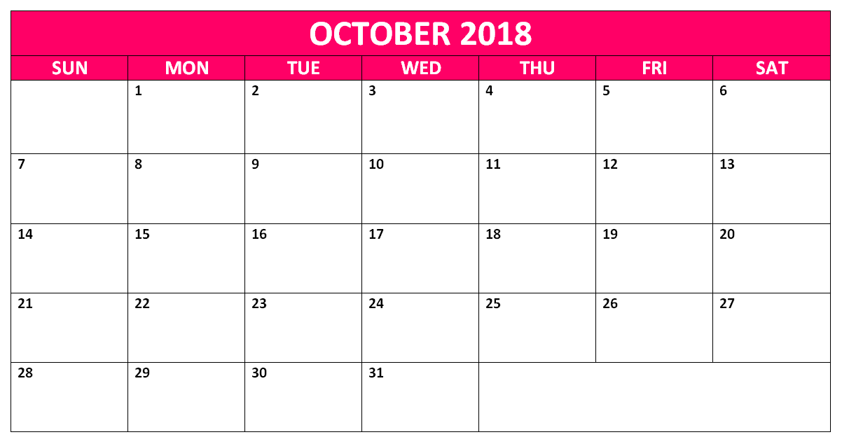 October 2018 Calendar Telugu Word excel Pdf