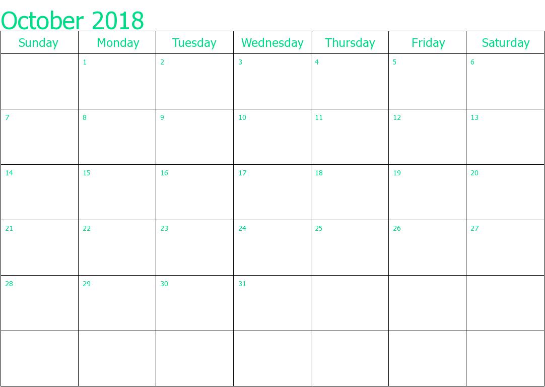 October 2018 Calendar Template Planner