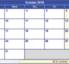 October 2018 Calendar Template Word