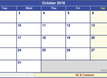 October 2018 Calendar Template Word