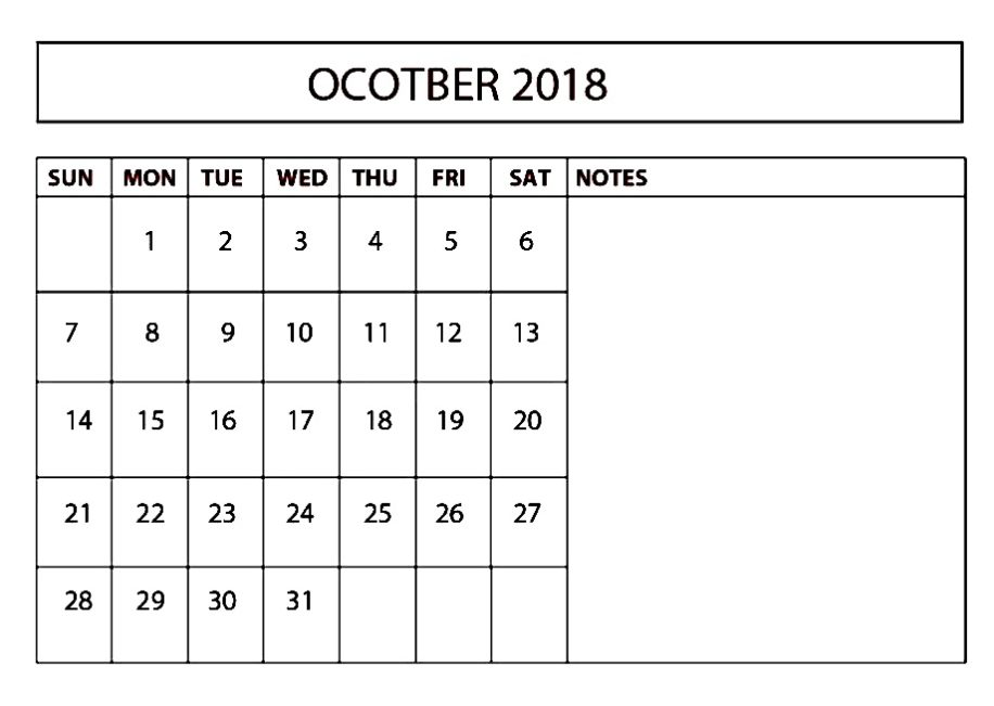 October 2018 Calendar UK Holidays