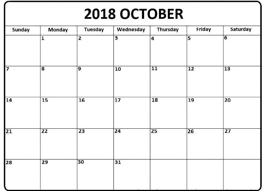 October 2018 Calendar UK Printable