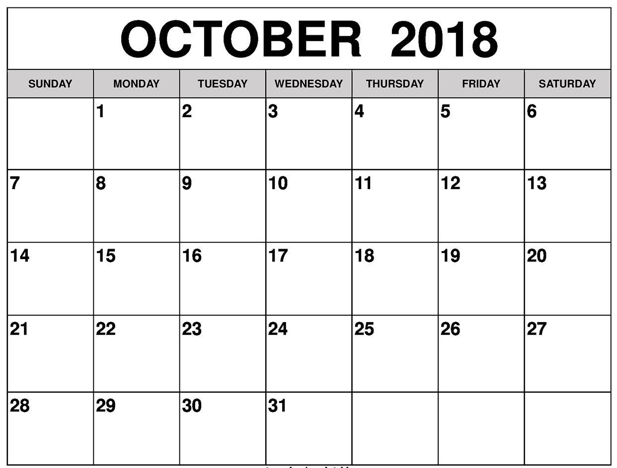 October 2018 Calendar UK with Holidays