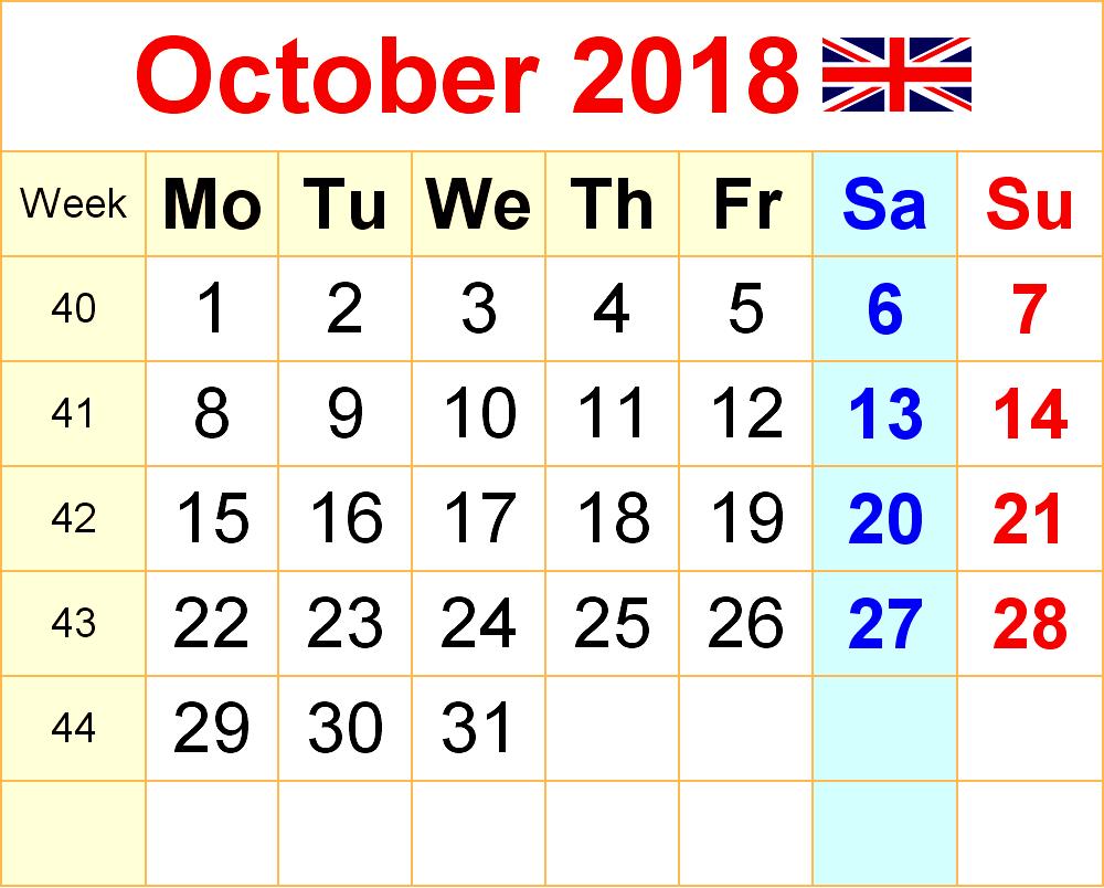 October 2018 Calendar UK