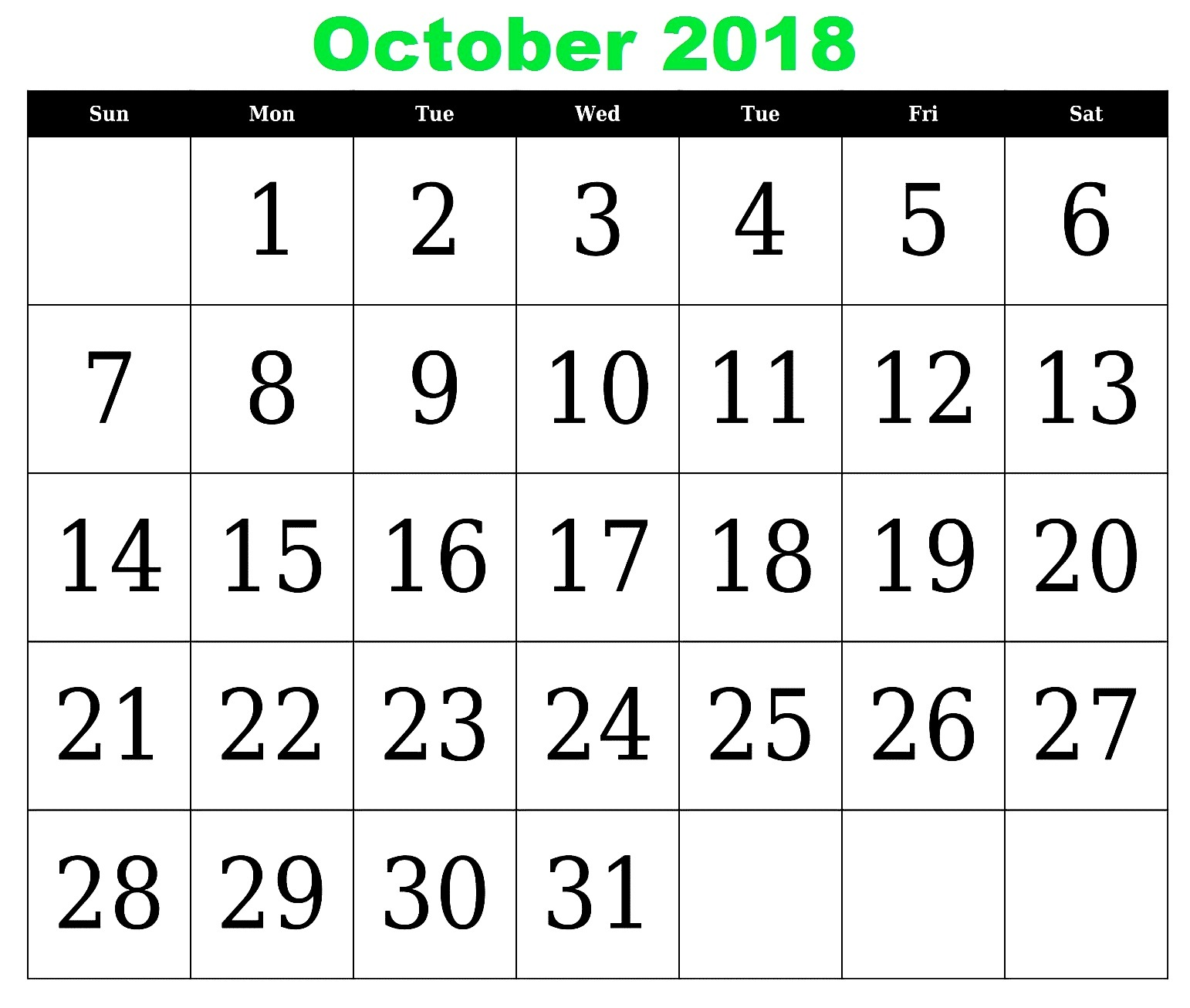 October 2018 Calendar US Printable