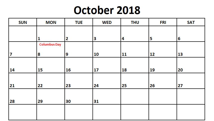 October 2018 Calendar USA Public School Holidays