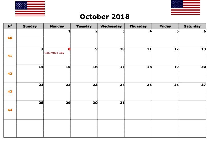 October 2018 Calendar USA With Holidays