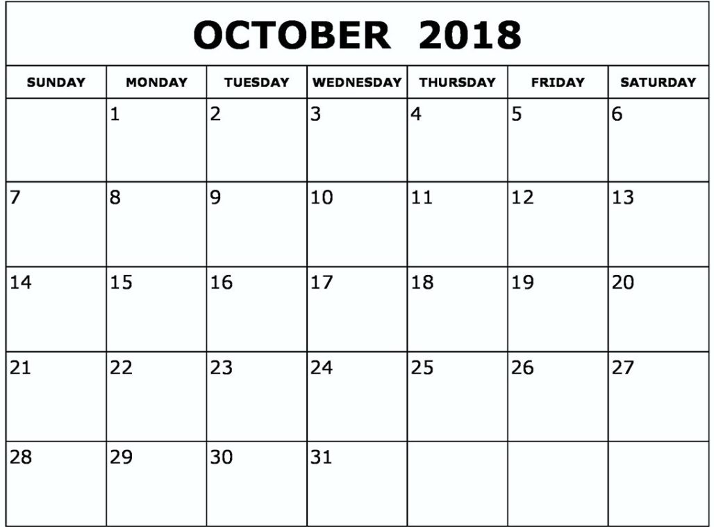 October 2018 Calendar United Kingdom
