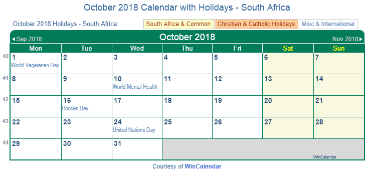 October 2018 Calendar With Holidays South Africa