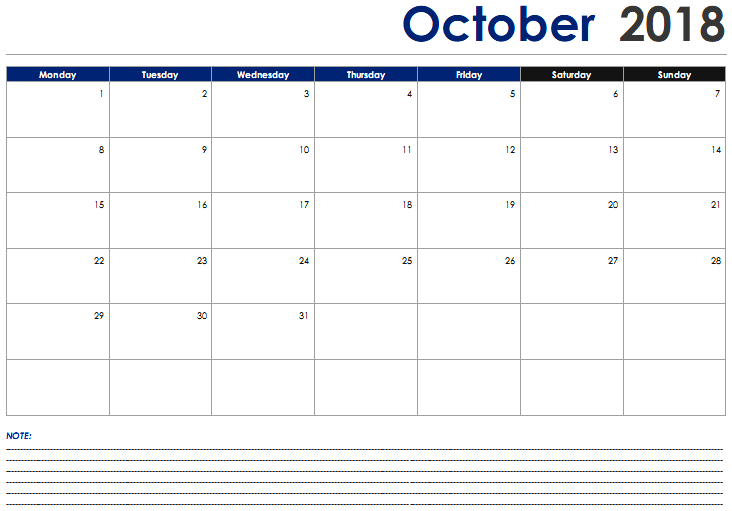 October 2018 Calendar With Notes Pdf