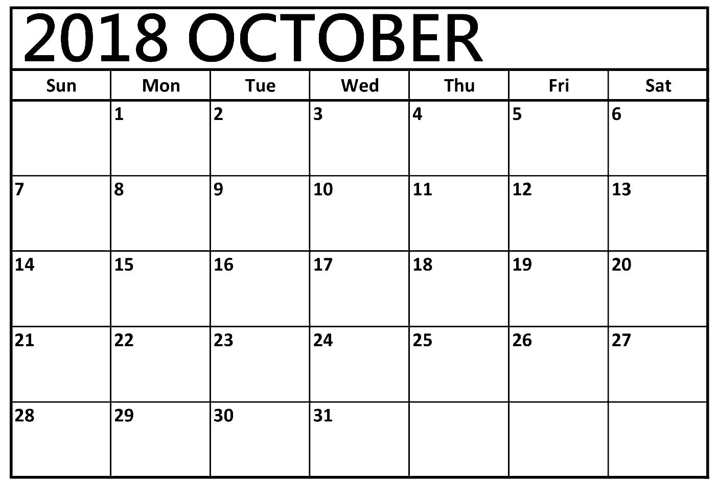 October 2018 Calendar Word Doc