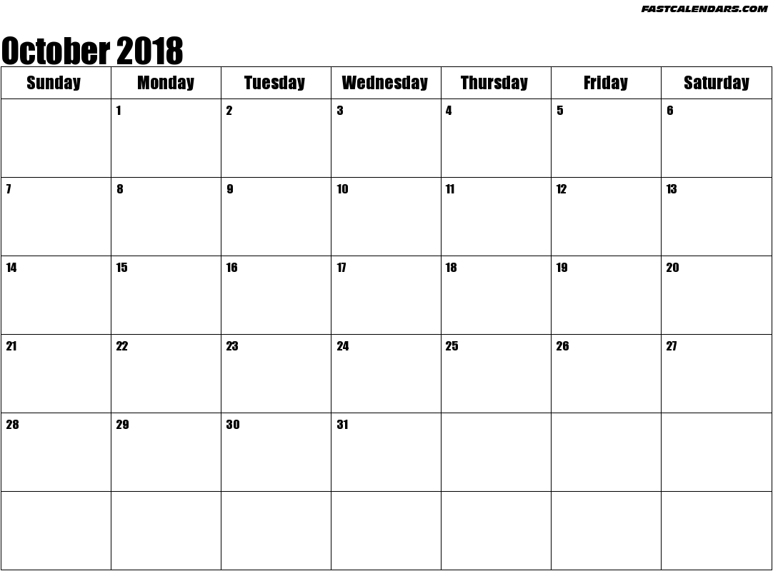 October 2018 Calendar to Print Template