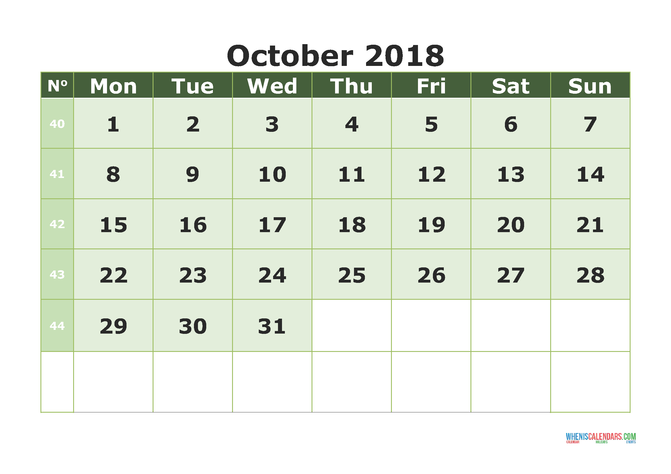 October 2018 Calendar to Print USA UK Canada