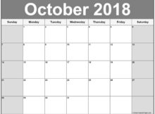 October 2018 Calendar to Print Word pdf excel