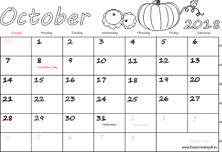 October 2018 Calendar with Holidays