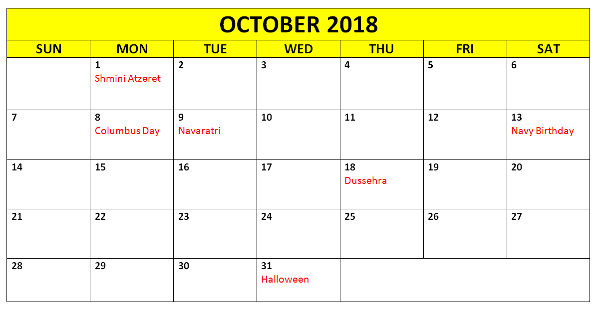 October 2018 Calendar with Holidays Page