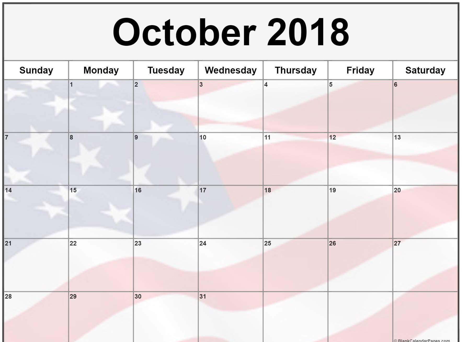 October 2018 Calendar with Holidays Printable