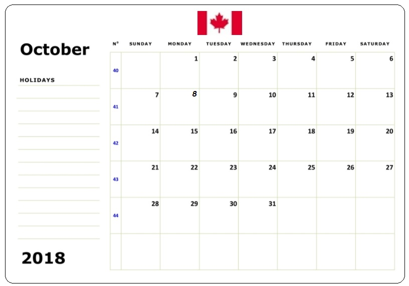 October 2018 Canada Holidays Calendar