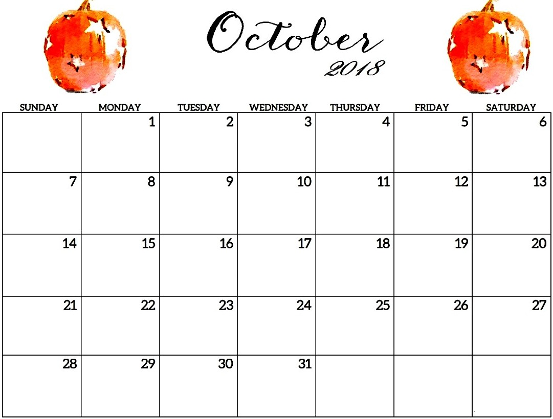 October 2018 Cute Calendar Printable
