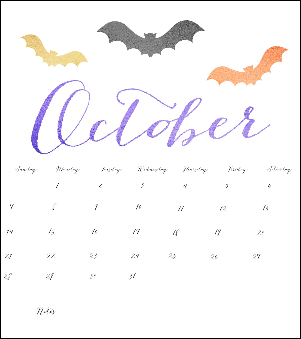 October 2018 Desk Calendar Download