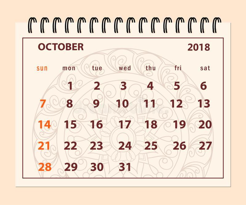 October 2018 Desk Calendar Pink