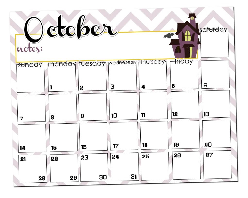 October 2018 Desk Calendar Template