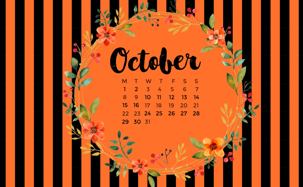October 2018 Desktop Calendar Designs