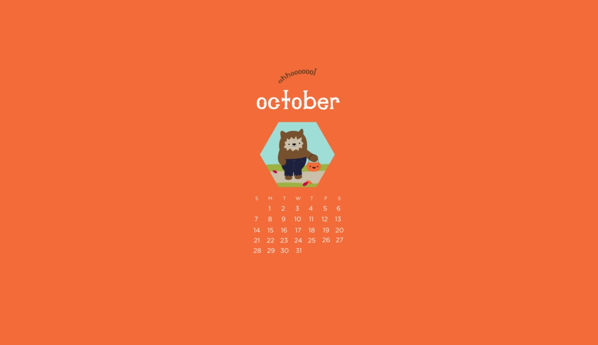 October 2018 Desktop Calendar For Background