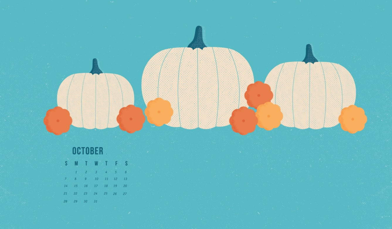 October 2018 Desktop Calendar Wallpaper