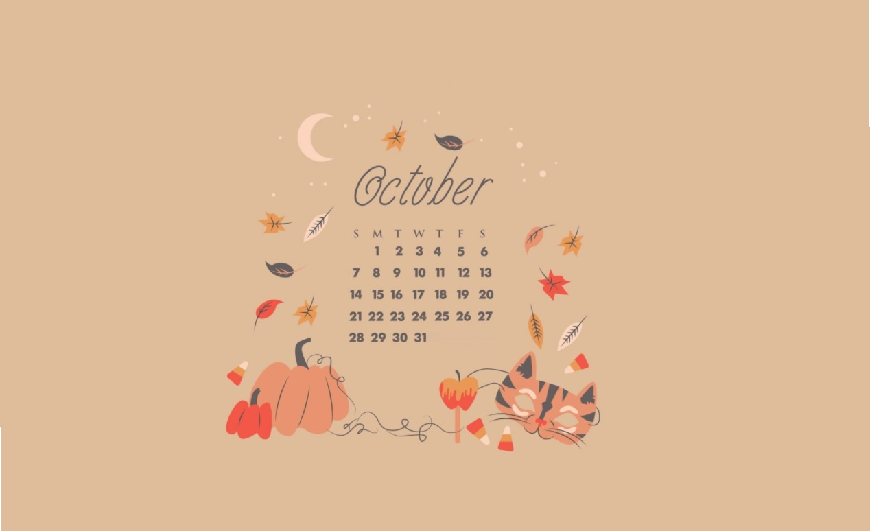 October 2018 Desktop Calendar Wallpapers