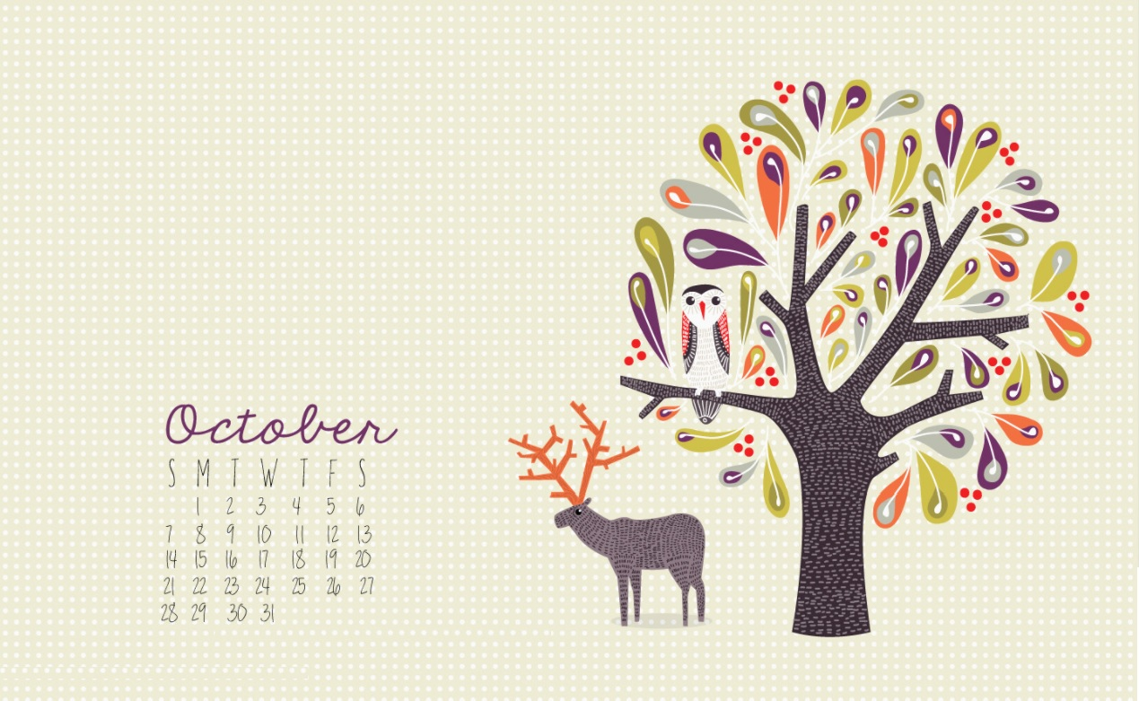 October 2018 Desktop Calendar