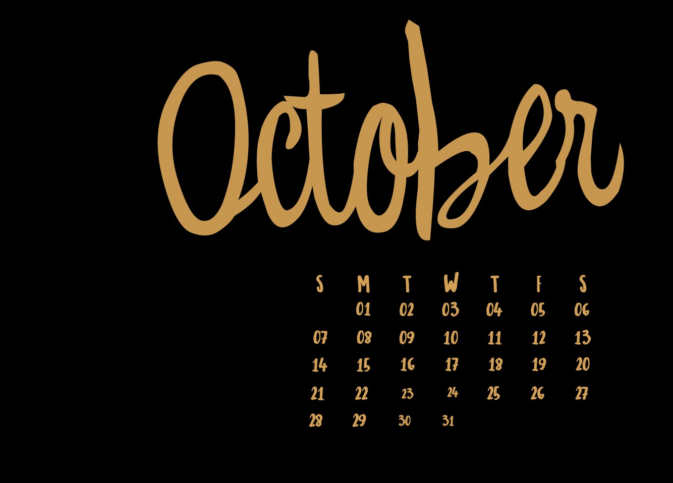 October 2018 Desktop HD Calendar