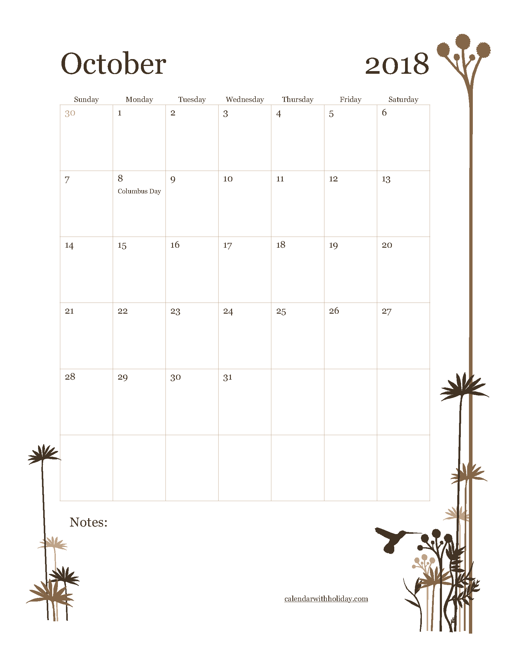 October 2018 Excel Calendar Portrait