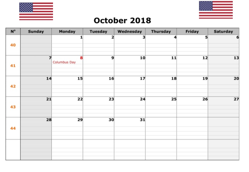 October 2018 Holidays Calendar United States America