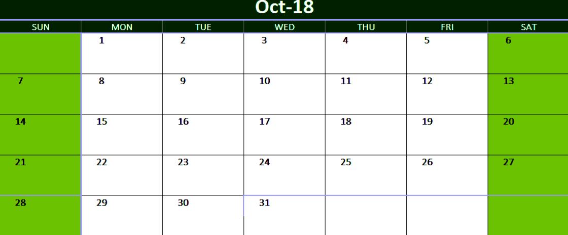 October 2018 Printable Calendar Australia